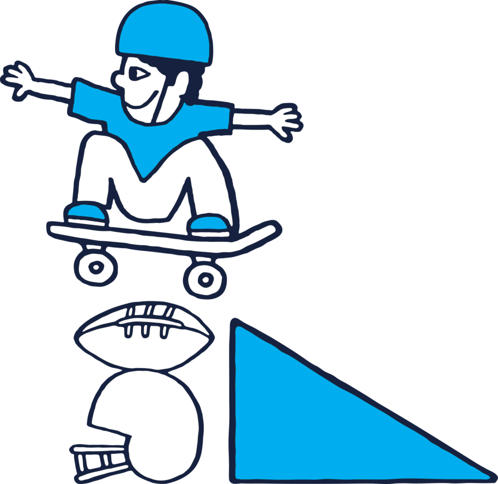 graphic of skater jumping a ramp over football equipment